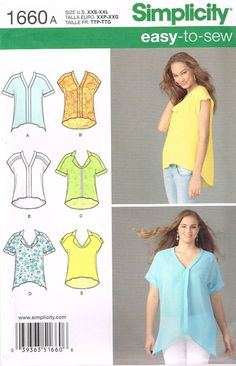 Simplicity 1660 Sewing Pattern Misses Top Size XXS by OhSewWorthIt, $5.95