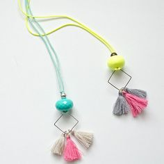 Fluo Boho Hippie Necklace | Acrylic Beads | Tassels | Metallic Detail