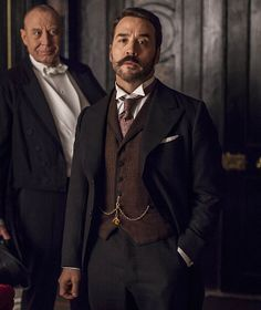 pocket watch chain (Double Albert style, with fob on center drop) w/ vest, Jeremy Piven, in Mr. Mr Selfridge, Suit Fashion, Mens Fashion, Fashion 2018, English Gentleman, Latest Celebrity News, 3 Piece Suits, Lakme Fashion Week, Black Suits