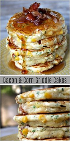 Bacon and Corn Griddle Cakes is part of Bacon And Corn Griddle Cakes Recipe Girl - This stack of savory pancakes served with warm maple syrup is a delicious breakfast treat Savory Pancakes, Breakfast Pancakes, Breakfast Dessert, Breakfast Dishes, Savoury Cake, Perfect Breakfast, Quick Breakfast Ideas, Brunch Ideas For A Crowd, Corn Pancakes