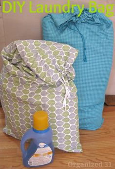 DIY Laundry Bag - 2 king sized pillow cases sewed together with draw string cord.