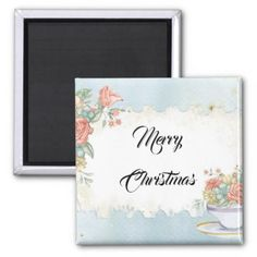 Vintage Bouquet of Flowers Merry Christmas Wishes Magnet - holidays diy custom design cyo holiday family