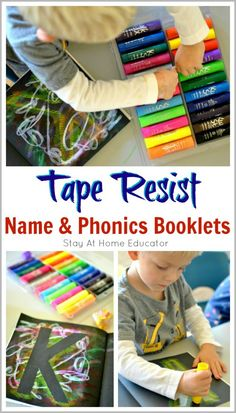 Tape Resist Name and Phonics Booklets - This is a very personal and individualized way for preschoolers to learn how to spell their names in addition to the sounds associated with each letter in their name. This tape resist name activity combines fine mot Letter Identification Activities, Name Activities, Kids Learning Activities, Alphabet Activities, Infant Activities, Preschool Alphabet, Abc Phonics, Handwriting Activities, English Activities