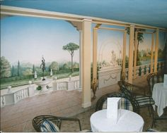 The misty-distance really gives the feeling of distance in that room. Mural Art, Wall Art, Painted Walls, Mural Ideas, Decoration, Art Work, Remodeling, Floors, Pergola