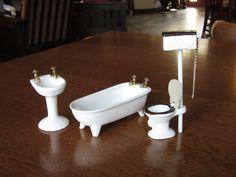 Vintage Dollhouse Porcelain Bathroom Set, White Ceramic Doll House Furniture, Claw Foot Bath Tub, Sink,Toilet,Chain Flush Water Tank,Bathtub by BarefootAndCivil on Etsy