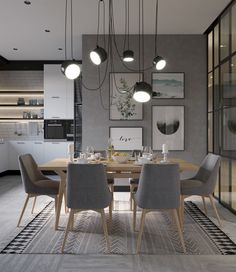 Grey dining room design ideas, from decorative neoclassical dining rooms to raw industrial dining rooms, plus grey dining tables and grey dining chair designs. Grey Dining Tables, Dining Table Lighting, Dining Room Table, Dining Room Modern, Grey Dining Room Chairs, Dining Room Colors, Farm Tables, Wood Tables, Eames Chairs
