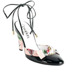 Chanel Printed Canvas Ankle Wrap Pumps - Size 8 / 38