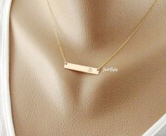 Gold Bar Initial Necklace, Personalized Monogram Bar Necklace, Rectangle Letter charm necklace, Modern Bridesmaid's jewelry on Etsy, $31.00