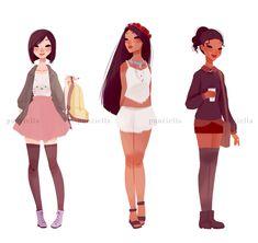 Mulan, Pocahontas and Fiona casual clothes