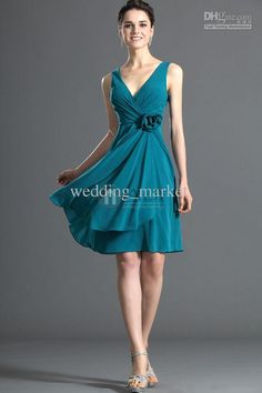 Wholesale Bridesmaid Dress - Buy Free Shipping 2014 New Arrival !succinct Elegent Vintage V-neck Hand Made Flower Chiffon Knee Length A-line Bridemaid Dresses, $76.0 | DHgate