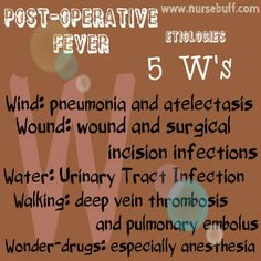 Post-operative fever is a condition wherein there is an abnormally high temperature following a surgical procedure. Factors that may cause post-operative fever are the following: Wind (pneumonia and atelectasis), Wound (surgical incision infections), Water (urinary tract infection), Walking (deep vein thrombosis and pulmonary embolus) and Wonder-drugs (especially anesthesia).