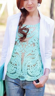 Pop of mint! Cute- but let's wear something besides our bare skin beneath the sheer :)