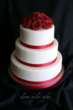 Love this wedding cake, but with purple ribbon instead of red
