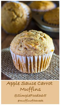 Apple Sauce Carrot Muffins are our #muffinoftheweek recipe this week.