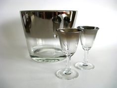 Vintage French Silver Rimmed Ombre Glasses and Ice Bucket - Etsy by Mid Century, Modern, Retro and Art Deco Vintage Finds.