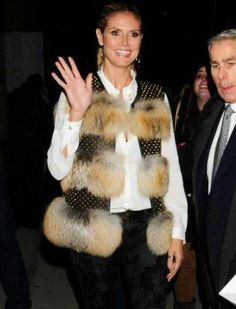 """Fur Hag~Animal Liberation Worldwide  Just goes to show you a pretty face does not make a pretty heart.   New York Fashion Week """"Project Runway"""" host Heidi Klum went with a hideous looking fur and metal-studded leather vest."""