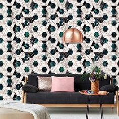 Glamorous wallpaper Hexa Jade Metallic Collection Mind the Gap at Behangfabriek for worldwide shipping Decor, Metallic Wallpaper, Interior, Glamorous Wallpaper, Chic Interior, Contemporary Wallpaper, Home Decor, Modern Wallpaper, Eclectic Design Style