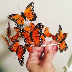 The monarch butterfly crown! A perfect fairy crown. I can't wait to make more with different colored butterflies. They are hand painted butterflies made out of feathers. The crown is made from aluminum wire so it's lightweight and good for all day wear.