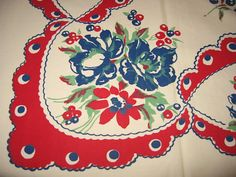Vintage 30s 40s Hand Printed Red White and Blue by randomretro, $58.00
