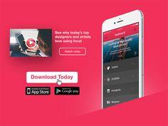 Download App // 074 by Ryan Duffy Mobile App Ui, Mobile App Design, Mobile Banner, App Store Google Play, Daily Ui, Ui Inspiration, Banner Design, Design Process, Ads