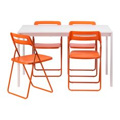 MELLTORP / NISSE Mesa con 4 sillas, blanco, naranja