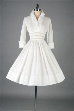 50's white dress
