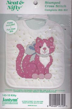 Janlynn Stamped Cross Stitch Kit Full Size Baby Bib Kitty Neat Nifty Cat New #Janlynn #BabyBib #crossstitch #embroidery