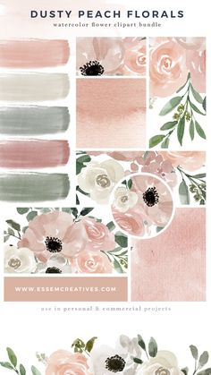 Rustic Vintage Watercolour Peach Floral Custom Wedding Bar Free Drink Tokens