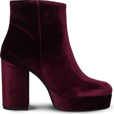 Carvela Swedish velvet ankle boots (740 EGP) ❤ liked on Polyvore featuring shoes, boots, ankle booties, bootie boots, velvet booties, chunky platform boots, chunky-heel ankle boots and chunky ankle booties