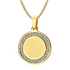 XIMAKA Men's Jewelry 316l Stainless Steel 29MM Diamond CZ Mantra Gold Pendant Necklace Religious Totem