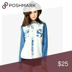 Jean top Blue jean  Tye dye  Acid wash bleach  New without tags  Button up blouse shirt Tops Button Down Shirts