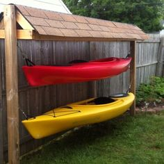 Idea for Kayak storage for west side of the house, incorporate a place for paddles and gear etc.