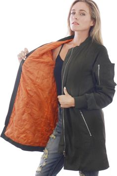 Bundle up in fashion with this olive colored, padded bomber jacket. The Ava comes with tons of detail starting off with the orange padding inside, outer pockets, and silver zippers. Denim Bomber Jacket, Oversized Jacket, Online Boutiques, Ava, Zippers, Casual, Skirts, Jackets, Color