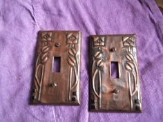 Pair of Glasgow Rose or Hurd copper covered light switchplates. The aged copper and tooled copper is folded over cheap plastic switchplates to make a Craftsman Interior, Craftsman Style, Craftsman Kitchen, Faux Tin Ceiling Tiles, Charles Rennie Mackintosh, Faux Painting, Arts And Crafts Movement, Stone Art, Glasgow