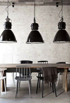 nordic dining room + oversize pendant lighting