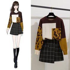 Lumierii Leopard Print Panel Color Block Sweater / Plaid Mini A-Line Skirt / Set Fashion Drawing Dresses, Fashion Illustration Dresses, Drawing Fashion, Kpop Fashion Outfits, Girls Fashion Clothes, Korean Girl Fashion, Cute Fashion, Cute Casual Outfits, Stylish Outfits