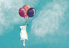 Cat illustration  Balloons  print par TwentyLittleLights sur Etsy, €10,00