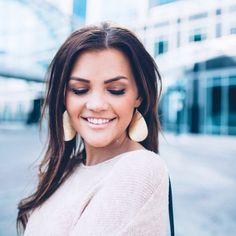 @kristinrosedavis looking so pretty in her medium Bright Gold leather earrings. #Nickelandsuede #leatherearrings #brightgold #nickelandsuedemedium