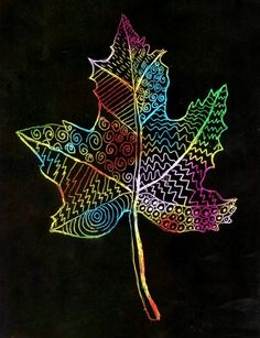 Scratch Art Leaf · Art Projects for Kids - Çoçuk Fall Art Projects, School Art Projects, Art School, Project Projects, Kratz Kunst, 4th Grade Art, Third Grade, Scratch Art, Leaf Art