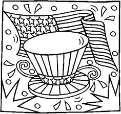 flag & hat 1 Coloring Page