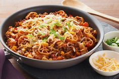 Get the best of both worlds with this easy One-Pot Taco Pasta. Combine taco ingredients with  wagon wheel pasta—there's no doubt this dish will be a winner!