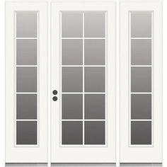 To replace sliding glass door off dining room. ReliaBilt 71-1/2-in Tempered 10-Lite Steel French Inswing Patio Door