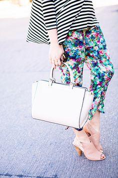 stripes / bright pants / neutral accessories