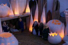 up lighting! Anu Völp felt sculptures: frohe weihnachten...