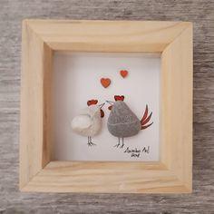 Chicken Valentine's gift, Valentine gift for her, Pebble Picture, Pebble art, Framed lovers present, Valentine's gift, kieselsteinbilder