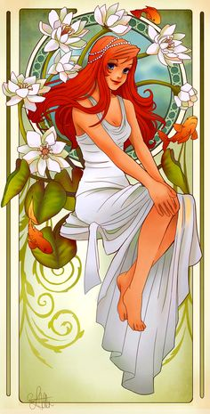 Ariel, The Little Mermaid | These Mucha-Inspired Disney Princesses Are Stunning