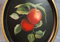 Vintage Tole Tray   Hand Painted Apples  by AuntGertiesAttic, $30.00