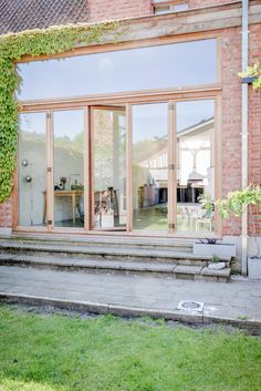 Practical option for high glazing.maybe bifold windows underneath. Sliding doors will only be used instead of door entrance + lose storage/srating inside window Future House, My House, Farm Stay, Art Deco Home, Backyard Garden Design, Forest House, House Extensions, Home Reno, House Goals