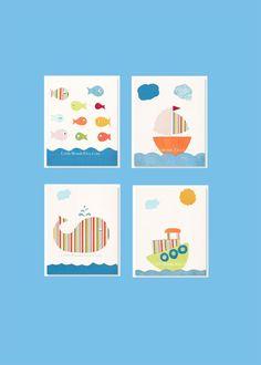 NURSERY ART PRINTS, Set Of 4, Baby Boy Nursery Prints, Set Of 4 Prints, Orange Nursery, Sea Life Nursery Decor on Etsy, $54.00