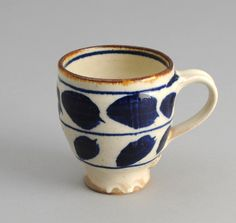 CE1-01 - Endo Pottery Coffee Mug - Blue & Natural Abstract Leaves Motif Japanese Pottery